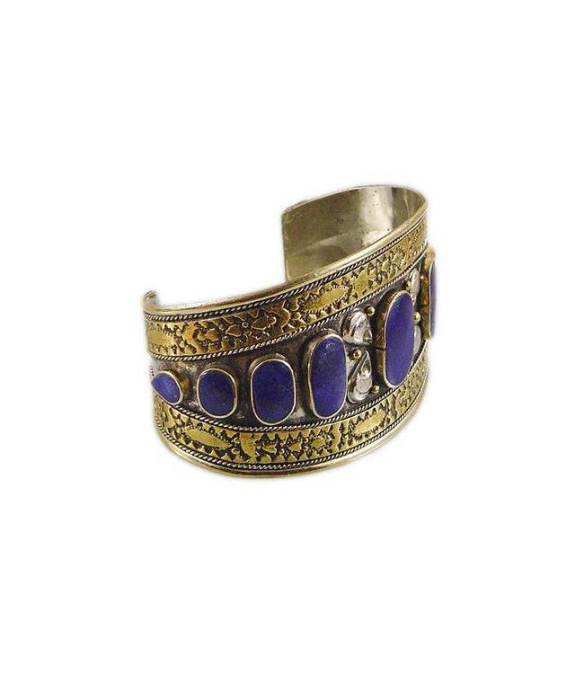 Tribal bracelet with lapis lazuli wedding alpaca