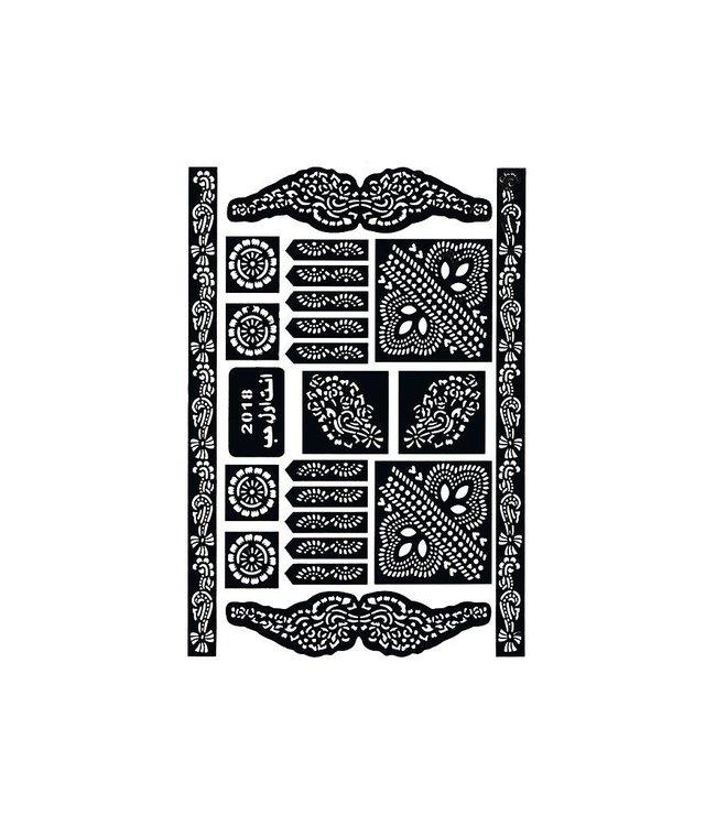 Selbstklebende Tattoo Hennaschablonen - Maxiset (29cm x 20cm)