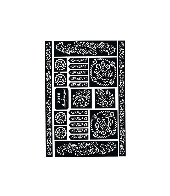 Selbstklebende Hennaschablonen - Maxiset (29cm x 20cm)