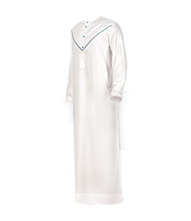 Al Noor Designer Emirati Omani Jubbah Kaftan Für Männer - Weiss Grün