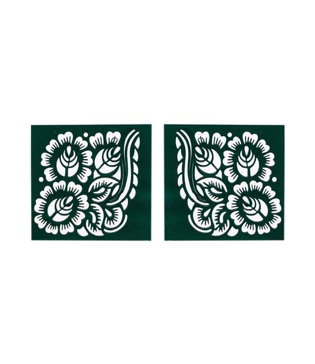 Self-adhesive henna stencil - Square (6cmx6cm)