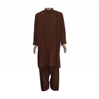 Salwar Kameez Men - Red Brown with embroidery