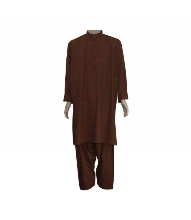 Salwar Kameez Men - Red Brown with embroidery