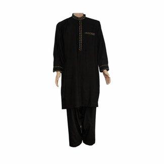 Salwar Kameez Men - Black with embroidery