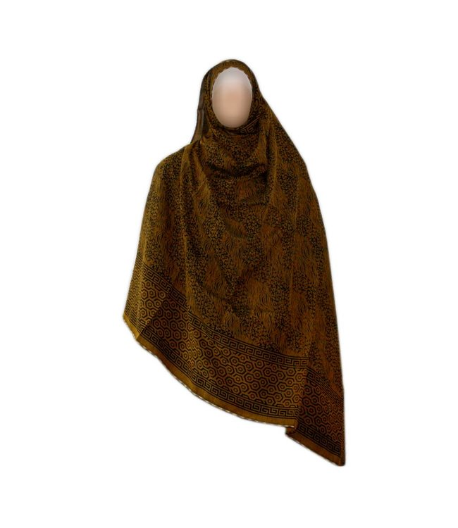 Brown Shayla hijab scarf with pattern
