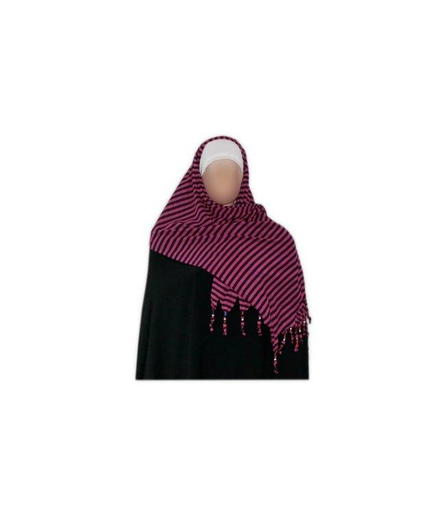 Shayla Schal mit Fransen u. Perlen - Hijab in Pink