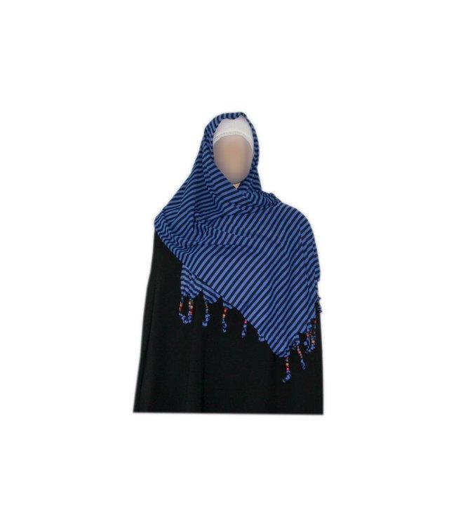 Shayla Schal mit Fransen u. Perlen - Hijab in Blau