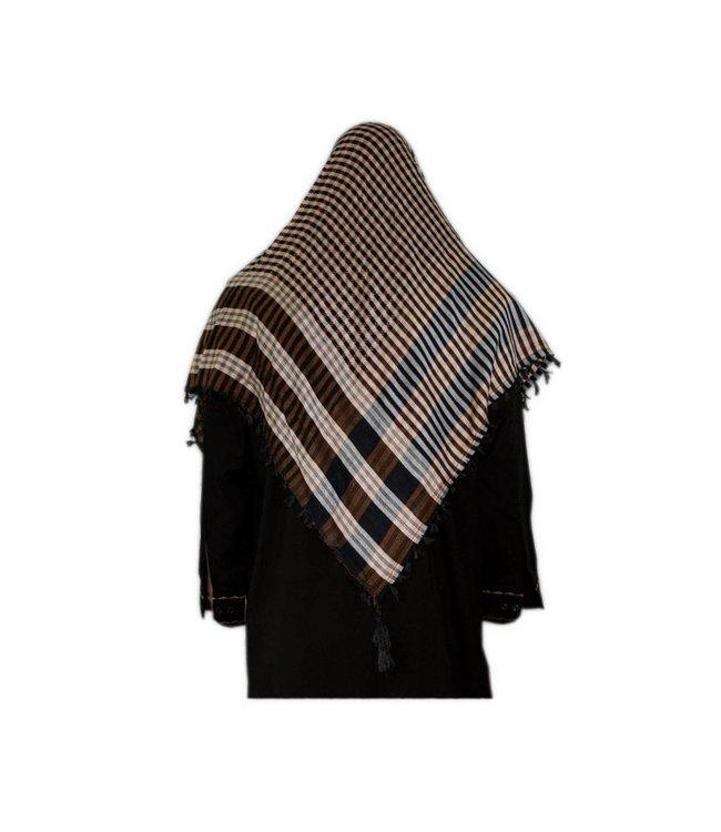 Large Scarf - Shimagh Brown-Black 120x115cm