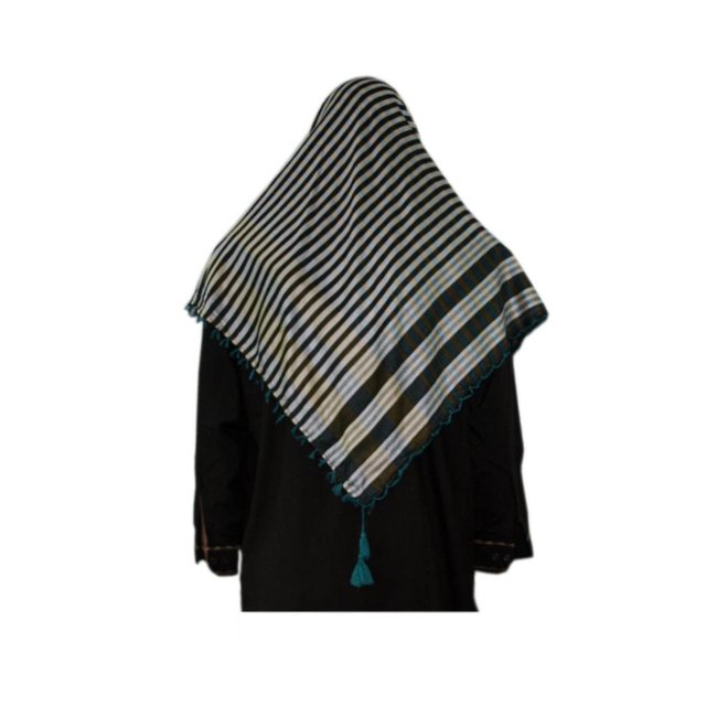 Large Scarf - Shimagh Turquoise-Black 120x115cm