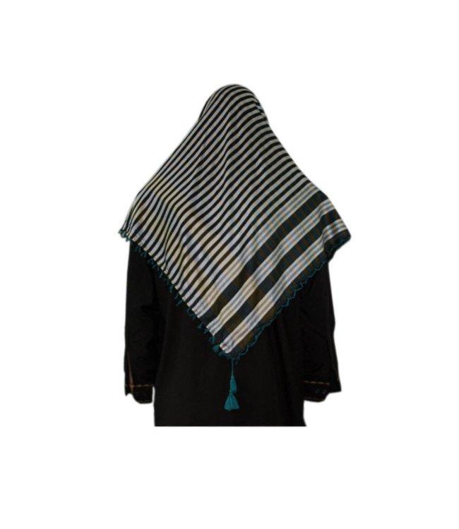 Large Scarf - Shimagh Turquoise-Black 120x115cm