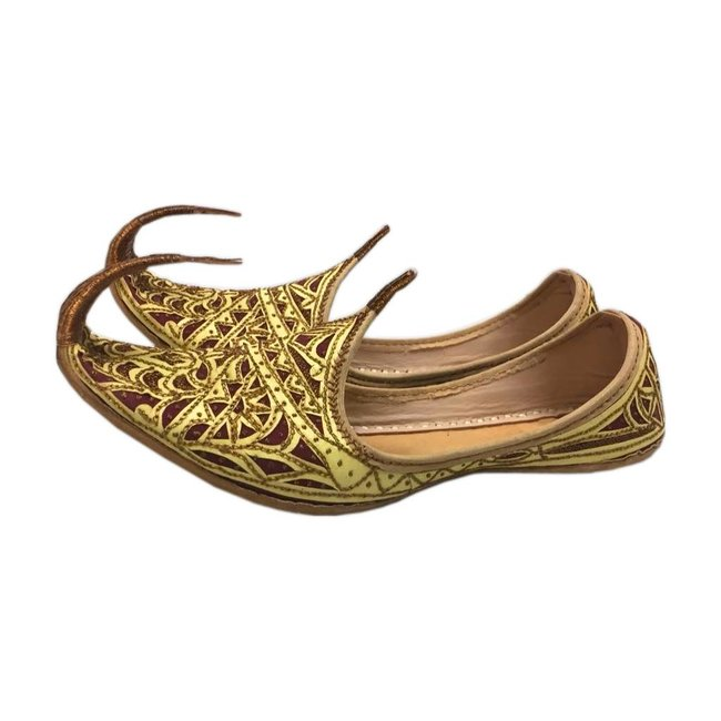 Orientalische Schnabelschuhe Khussa Schuhe In Gold Rot
