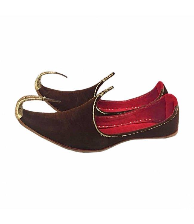 Orientalische Schnabelschuhe - Khussa Schuhe In Braun-Gold