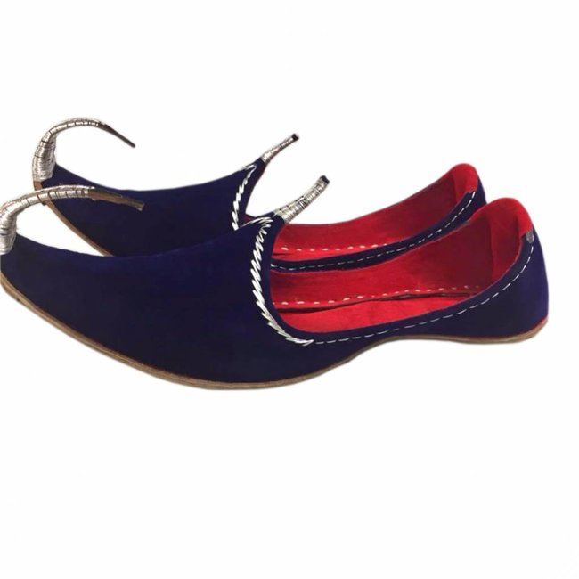 Indian Khussa Shoes In Blue-Silver