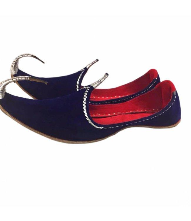 Orientalische Schnabelschuhe - Khussa Schuhe In Blau-Silber