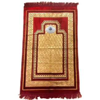 Prayer Mat with Compass - Dark Red