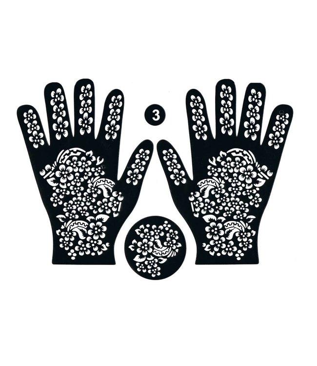 Hennaschablone Hand 3-Teilig