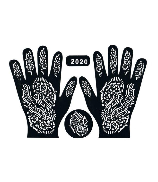 Self-adhesive Henna Stencil - Hand 3-piece set
