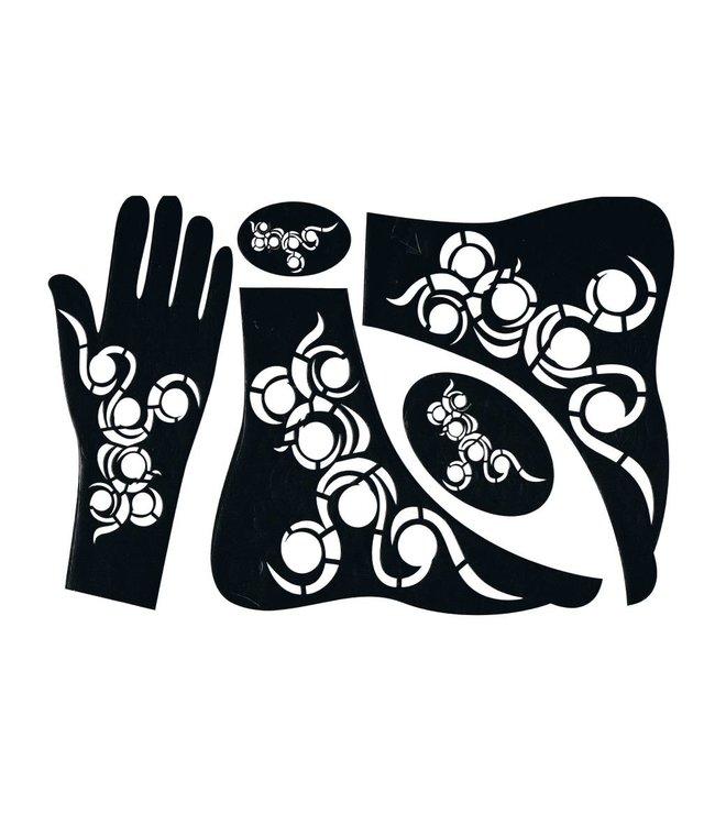 Selbstklebende Hennaschablone - Hand/Fuß 5-Teilig