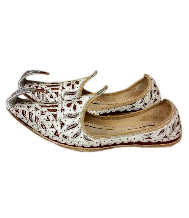 Indische Schnabelschuhe - Orientalische Khussa Schuhe in Weiss-Rot