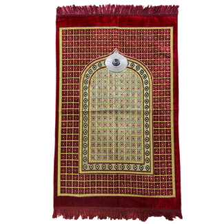 Prayer Mat with Compass - Red