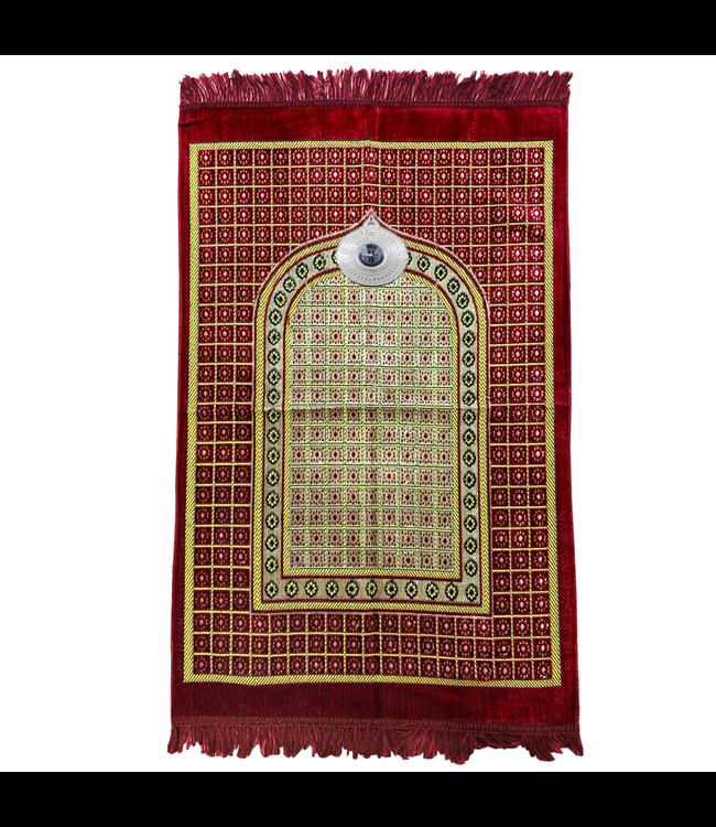Gebetsteppich - Seccade in Rot mit Kompass