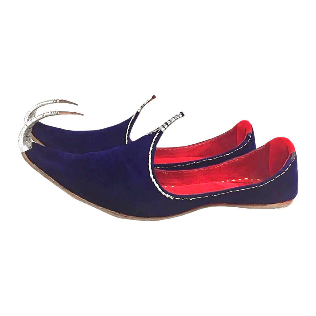 indian khussa shoes oriental blue-silver