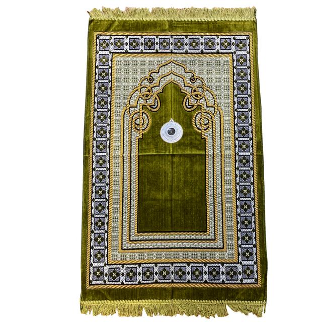 Gebetsteppich mit Kompass - Moosgrün