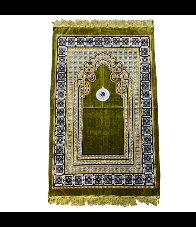 Gebetsteppich - Seccade in Moosgrün mit Kompass