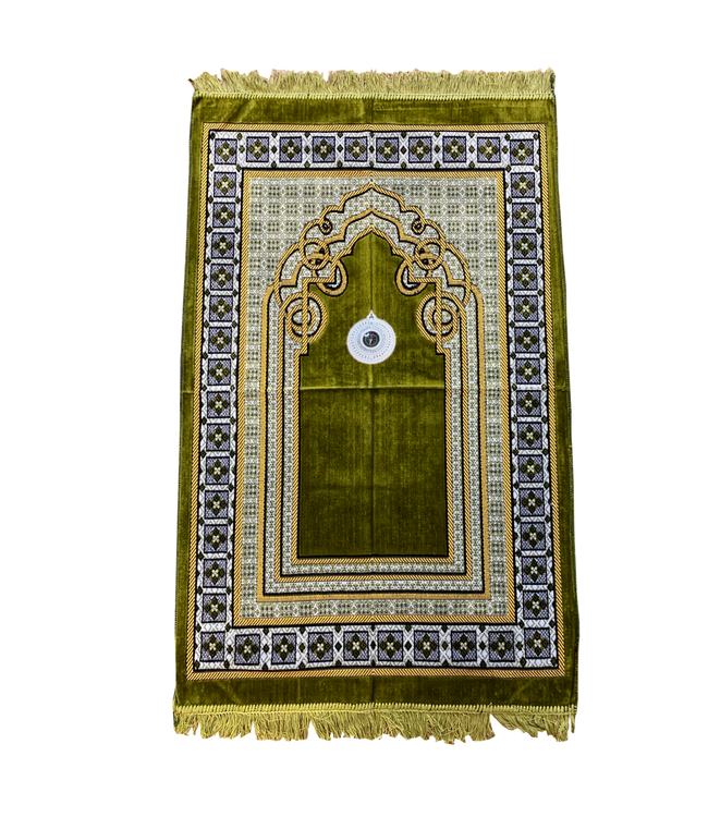 Prayer Rug - Seccade With Compass In Moss Green
