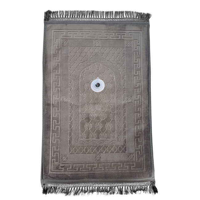 Prayer Mat Seccade Foam Padded Compass - Grey