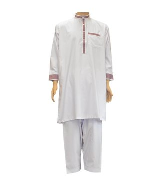 Salwar Kameez Men - White with embroidery