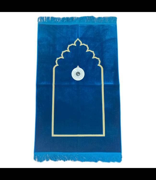 Gebetsteppich - Seccade in Blau mit Kompass
