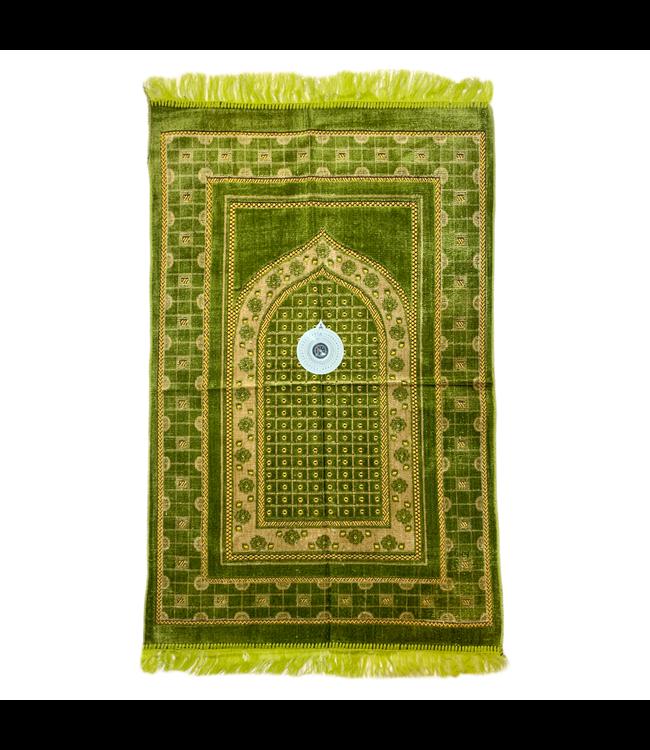 Gebetsteppich - Seccade in Grün mit Kompass