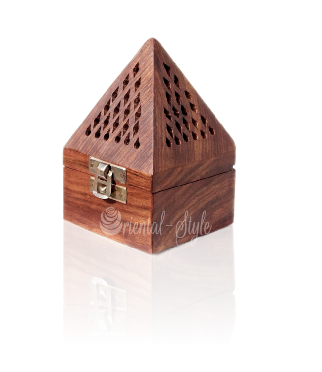 Mubkara - Räuchergefäß Pyramide Für Bakhour Aus Holz