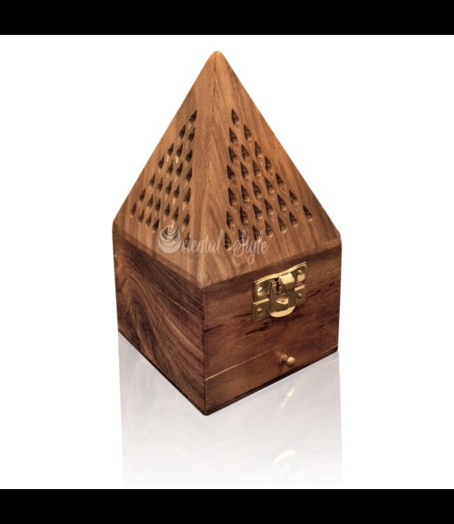 Mubkara - Räuchergefäß Pyramide Holz Maxi
