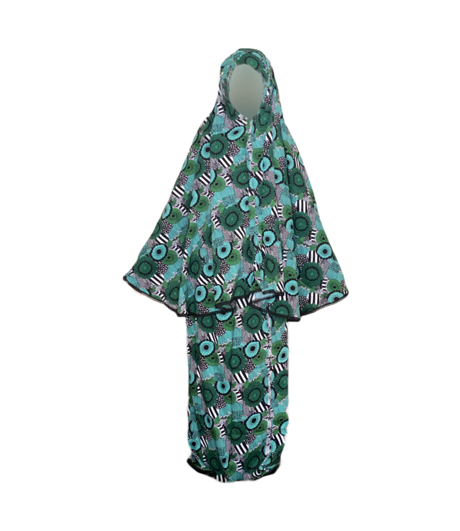 Prayer Clothes Outfit In Black/White - Two Piece Set Dress Green