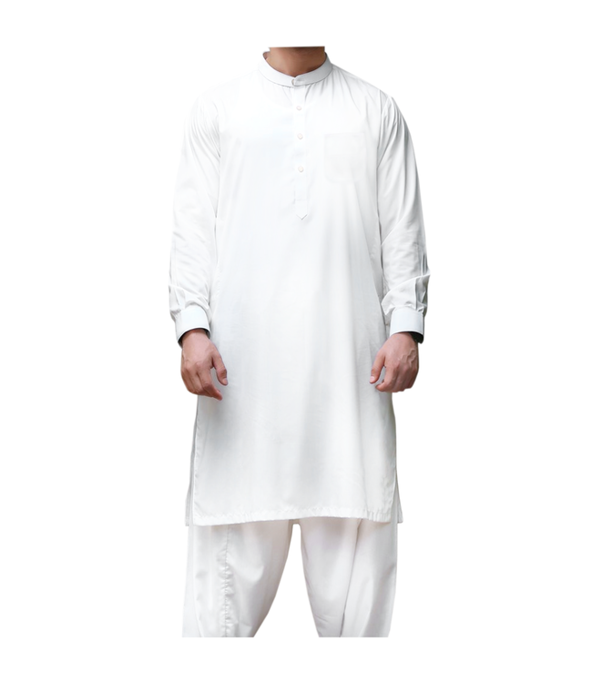 Salwar Kameez Herren Weiß - Baumwolle