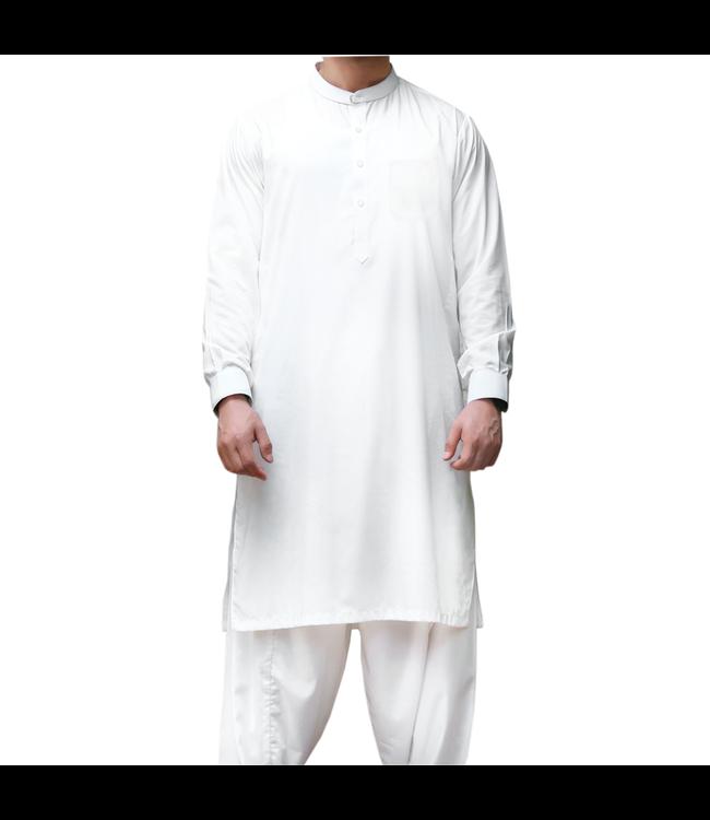 Salwar Kameez in Weiß Herren Baumwolle