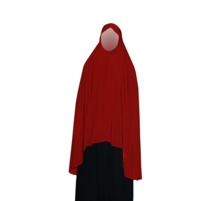 Großer Khimar in Rot - Elastisch