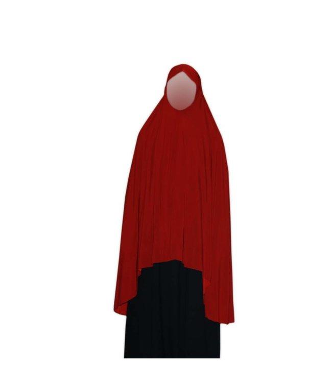 Großer Khimar Hijab in Rot - Elastisches Kopftuch
