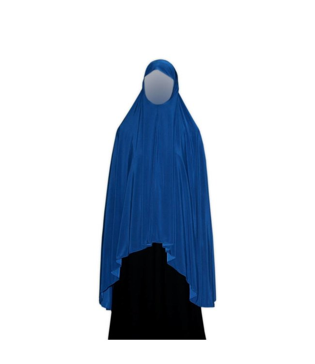Großer Khimar Hijab in Blau - Elastisches Kopftuch