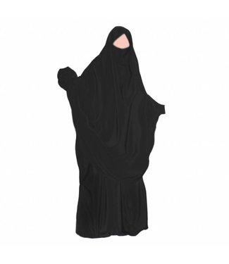 Khimar Set with pants Black