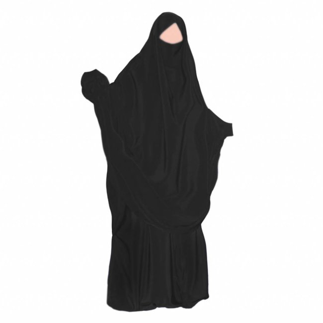 Khimar Set with pants Black