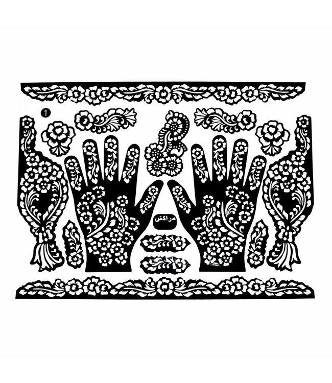 Hennaschablonen Tattoos Maxiset (38cm x 27cm)