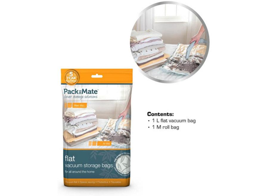 Vacuum Opbergzakken Flat Bag M+L 2-pack Packmate