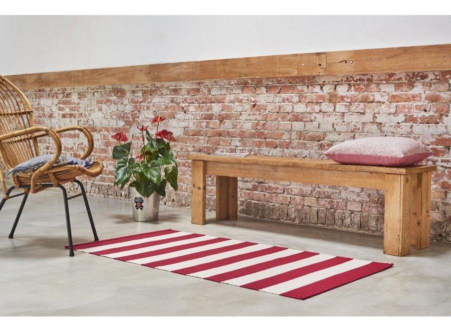 Kilim Vloerkleed Stripe - rood/wit - 200 x 290 cm Lifa Living