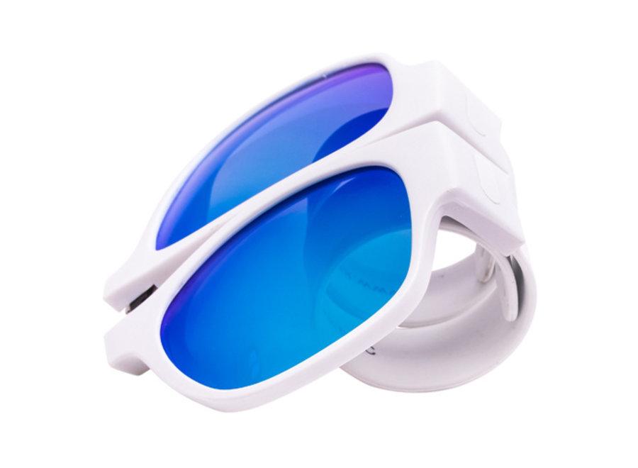Kliklak Zonnebril wit/wit - blauw polarised KLK006