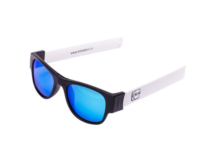 Kliklak Zonnebril zwart/wit - blauw polarised KLK005