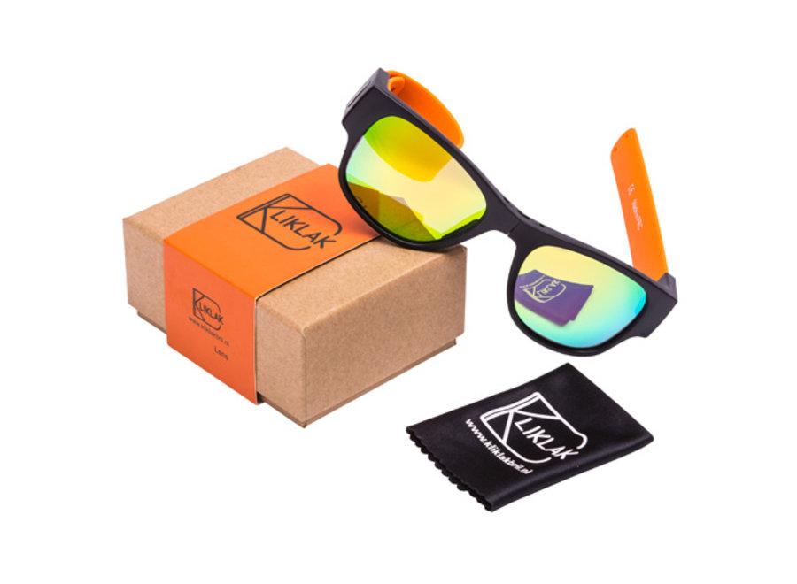 Kliklak Zonnebril zwart/oranje - oranje polarised KLK004