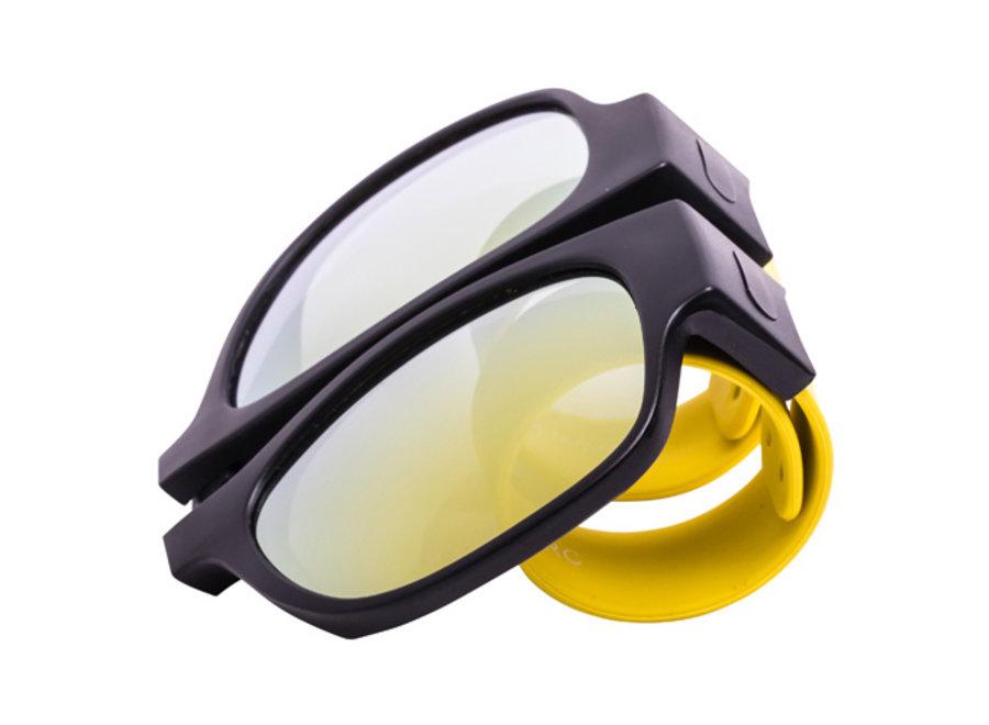 Kliklak Zonnebril zwart/geel - geel polarised KLK003